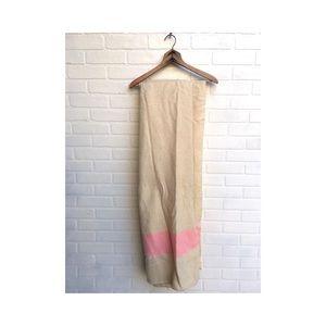Vintage Wool Blanket with Pink Stripe